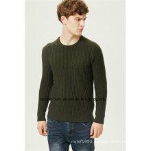 Мягкий Lambswool круглый вырез вязать свитер мужчин