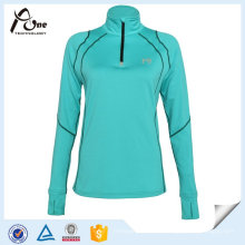 Breathable Ball Sports Wear Mujeres Tops Cremallera Pullover