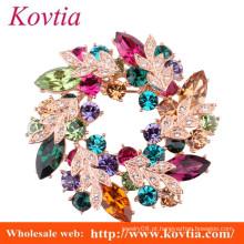 Moda jóias de cristal colorido rhinestone broche embelezamento flor