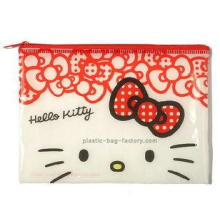 Hello kitty cute red vinyl plastic zip lock bags for girls