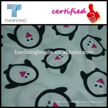 satén de sarga en algodón 100 pingüino lindo carácter tejer a tela blanco impresión reactiva para pijamas de niños