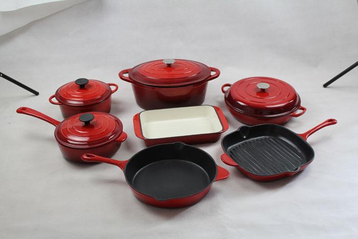 Cast Iron Red Enamel Cookware Set