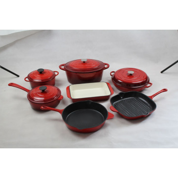 Cast Iron Enamel Cookware 7pcs Sets