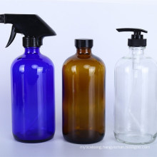 500ml16oz Refillable Dispenser Amber Glass Bottle for Essential Oil with Trigger Spray Pump Screw Cap