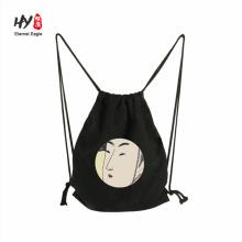 Узор логотип пользовательские дешевые шнурок рюкзак холст сумка