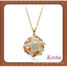 2014 HEISSER VERKAUF afrikanische Goldketten-Bernstein-Kristall-hängende Halskette