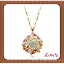 2014 HOT SALE collier pendentif en cristal ambre en or africain