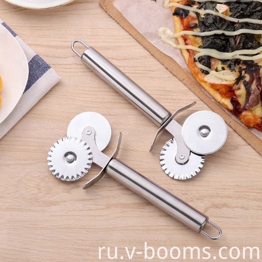 Double Roller Stainless Steel Pizza Cutter