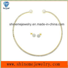 High Quality Jewelry Stainless steel Plating Gold with CZ Necklace Match Ear Stud (ERS6885)