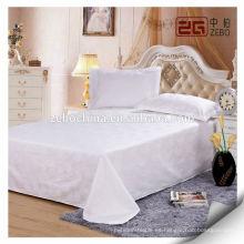 Tejido de satén blanco puro Super Soft Hotel Hoja de cama de algodón usado en Guangzhou
