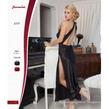 Black Satin Long Nightdress
