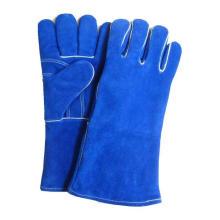 Gants de cuir bleu marine de soudure Gants de travail en cuir fendu de vache