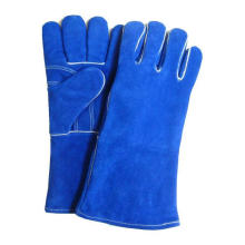 Welding Navy Blue Leather Gloves Cow Split Leather Working Glove