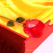 Rosa vermelha de cristal por atacado para o presente do favor do casamento