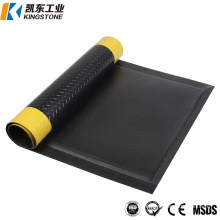 Safety Diamond Fatigue Reducing Foam Black with Yellow Edges PVC Waterproof Mat for Foot