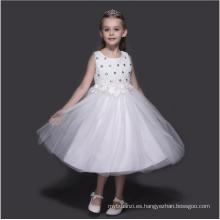 Niños boda niñas de las flores de color blanco vestidos de niños ropa de año nuevo precio de fábrica venta al por mayor 5 unids en una fiesta de la porción que llevaba