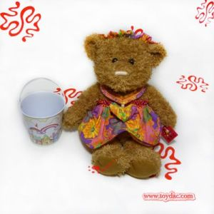 plush cotton dressed teddy bear