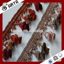 Stock Hangzhou Taojin Flower Tassel Trim Fringe pour rideaux Accessoires