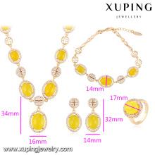 64009-Luxus Schmuck 18 Karat Gold große Jade Kostüm Schmuck-Sets