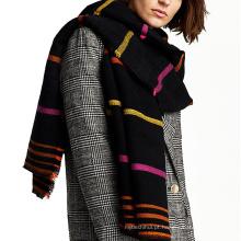 Contraste cor engrossar longo colorido despojado mulheres acrílico malha inverno cachecol