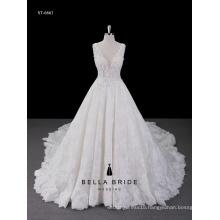 Best Sale Tulle Lace white appliqued print lace Wedding Dress Bridal Gown