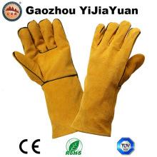 Ce En12477 Protección de cuero Guante de soldadura de mano de seguridad con hilo de Kevlar