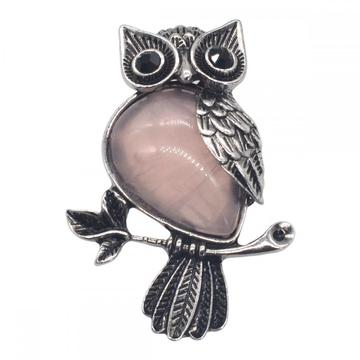Natural Rose Quartz Alloy Owl Gemstone Pendant fow Women Jewelry Necklace