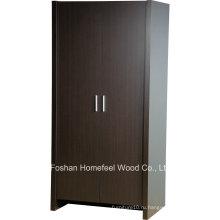 Прочный и прочный деревянный шкаф для спальни с 2 дверными шкафами (WB78)