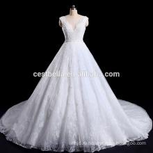 Глубокий V-образным вырезом тяжелая бисероплетение чистый Китай на заказ свадебное платье сделано в Китае
