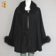 Schwarze Frauen Wolle Knited Poncho Schals mit Waschbär Pelz