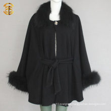 Black Women Wool Knited Poncho Shawls With Raccoon Fur