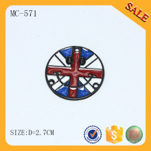 MC571 Esmalte redondo etiqueta de la marca de fábrica colorida