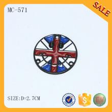 MC571 Etiqueta esmaltada do logotipo da marca do esmalte redondo