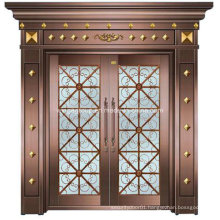 with Decorative Glass Security Steel Metal Iron Copper Door (W-GB-02)