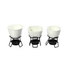 Ensemble de fondue en porcelaine blanc 2PC