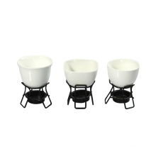 White Porcelain 2PC Cheese Fondue Set
