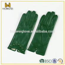 Women five-finger-gloves green genuine goatskin leather gloves with Huawei Logo