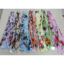 En Stock Mezclado de Poliéster de Color Floral Impreso Bufanda