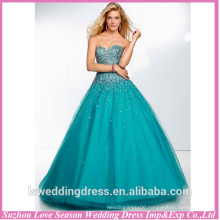 HE2057 Beautiful 2014 popular emerald sweetheart neckline strapless beaded top tulle and satin ball gown prom dresses 2013