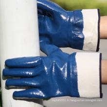 NMSAFETY manchette de sécurité Jersey doublure bleu nitrile anti-huile lourds de travail gants de sécurité