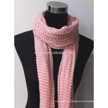 Lenço de algodão de tingimento de fio de moda longo