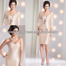 HM2010 Sleevless com casaco de champanhe mãe dos vestidos de noiva