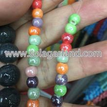 6MM 8MM 10MM 12MM AB Color Porcelain Ceramic Beads Charms