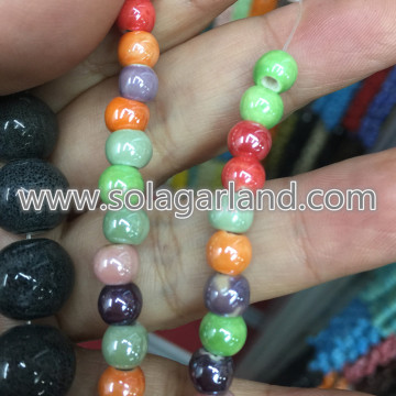 6MM 8MM 10MM 12MM AB Color porcellana ceramica perline Charms