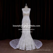 Hot Sale Elegant Ivory Mermaid Bling Wedding Dresses laço embelezamentos modernos vestido de noiva
