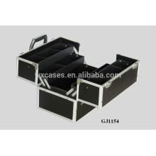 boîte à outils de solide en aluminium 2014 avec 4 plateaux en plastique & compartiments réglables sur le fond de boîtier