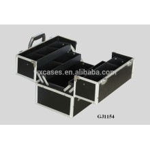 2014 strong aluminum toolbox with 4 plastic trays&adjustable compartments on the case bottom