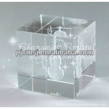 Antique Crystal Cube with 3D laser engraved Violin For Musician Gifts