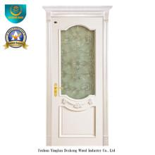 Puerta de madera maciza simplificada estilo europeo para interiores con vidrio (DS-127)