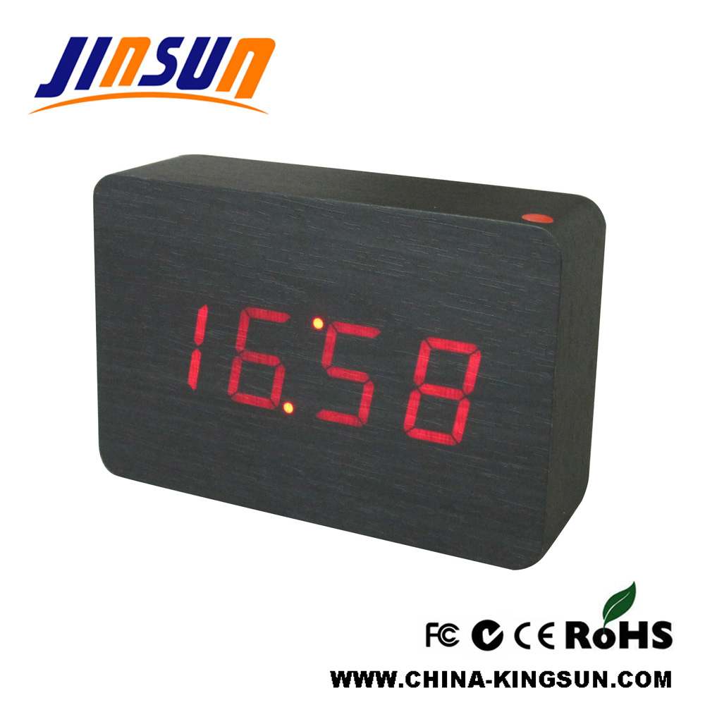Wooden Clock Red Led Clock